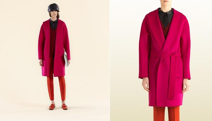 Belden Bağlamalı Fuşya Renkli Yün Palto