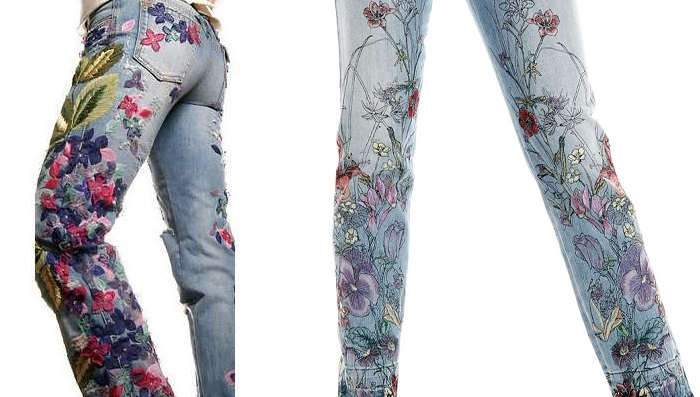 Çiçek Desenli Jeans