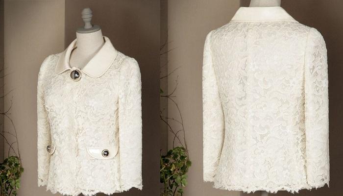 Dolce&Gabbana Deri Yaka Dantel Blazer Cekett