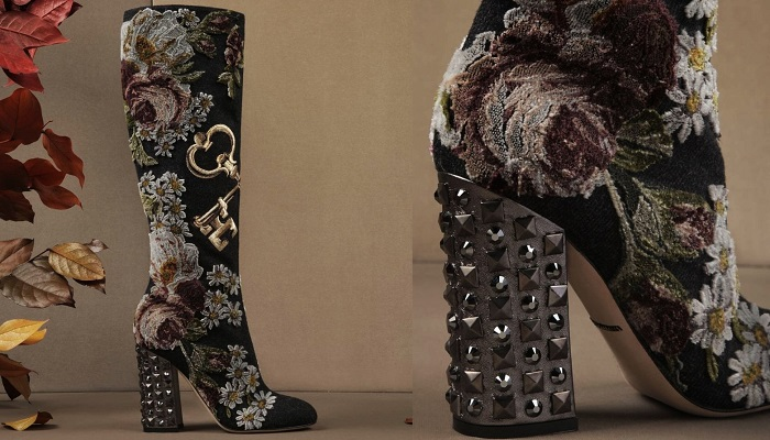 Dolce&Gabbana Gül ve Anahtar İşlemeli Yüksek Vally Çizmeleri