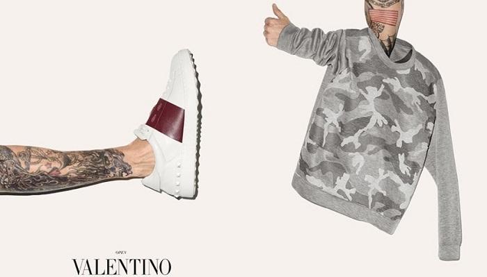 Valentino Calfskin Açık Boğazlı Spor Ayakkabı