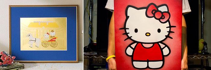 Hello Kitty Altın Tablo