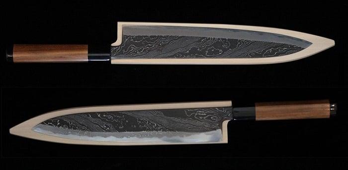 Tsukasa 270mm Enryu Kurouchi Damascus Wa-Gyuto Beyaz Çelik Bıçak