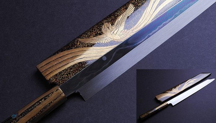 Yoshihiro Mizuyaki Honyaki,Yanagi Kiritsuke 13, Fuji Dağı ile Dolunay Desenli Bıçak
