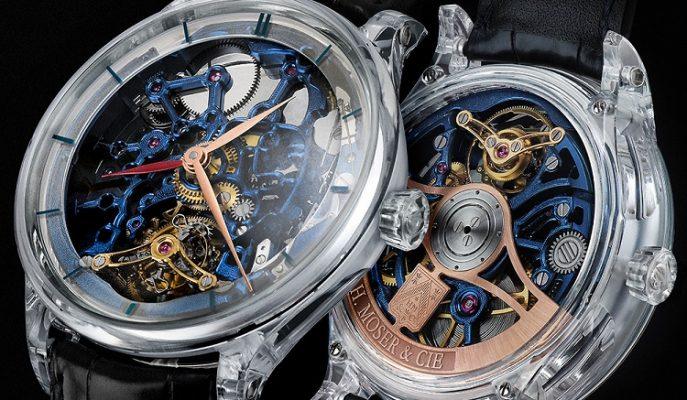 """Farklı Tasarımıyla Dikkat Çeken Bir Saat: """"H. Moser & Cie. Venturer Tourbillon Dual Time Sapphire Blue Skeleton"""""""