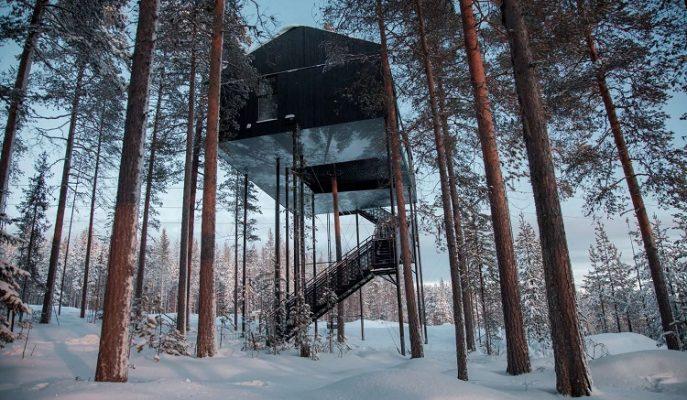 """Nefes Kesen Manzarası ve Lüks Olanaklarıyla İsveç'in Ağaç Oteli: """"7th Room"""""""