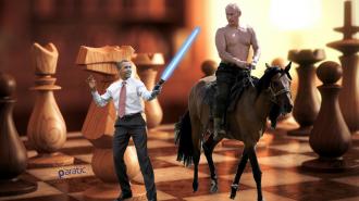 Şahları Vladimir Putin ve Barack Obama Olan Satranç Takımı