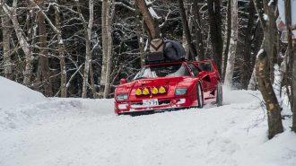 Ferrari F40 ile Kar Üzerinde Muhteşem Drift Görüntüleri
