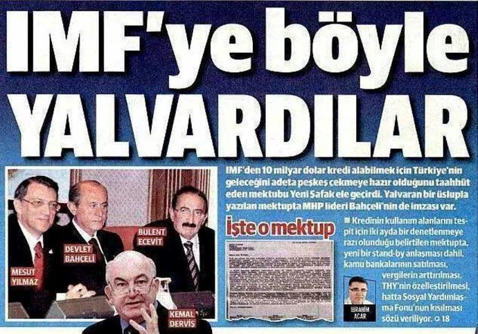 IMF'ye Yalvardılar Manşeti