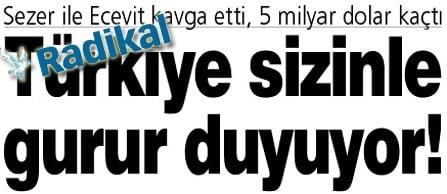 Türkiye Sizinle Gurur Duyuyor manşeti