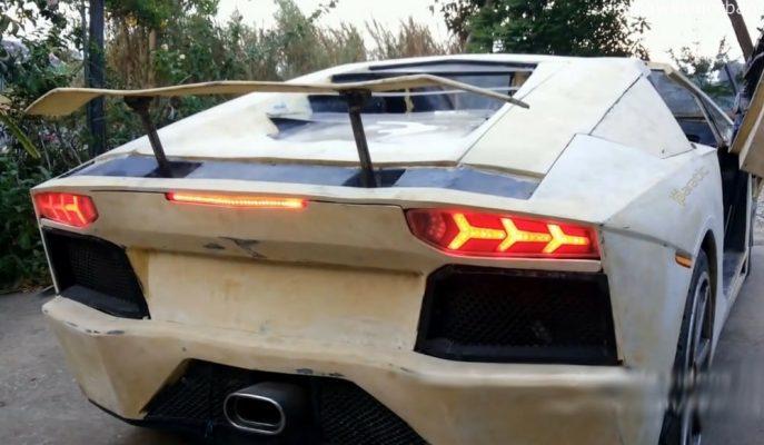 """Bisiklet Parçalarıyla Yapılan Lamborghini Aventador'un """"Mini Replikası"""""""