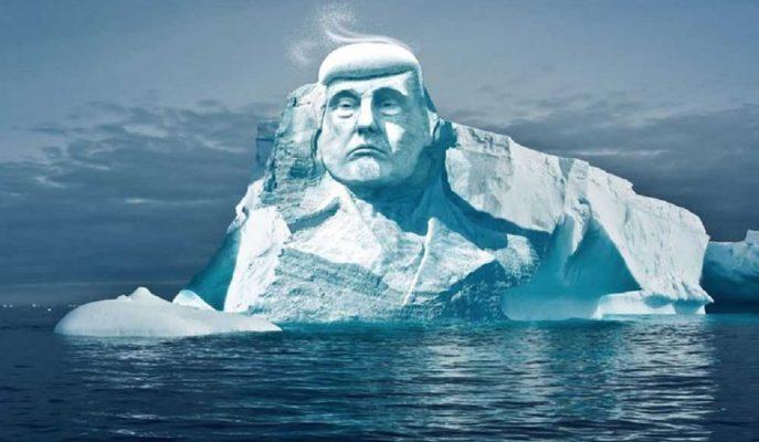 İklim Değişikliğine Dikkat Çekmek İsteyen Grup Buzula Trump'ın Yüzünü Kazıyacak!