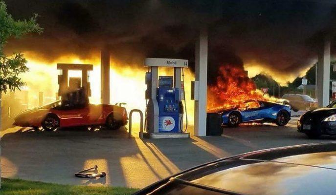 Amerika'daki Bir Benzin İstasyonunda Lamborghini Huracan'ın Yanarak Kül Olduğu Anlar!