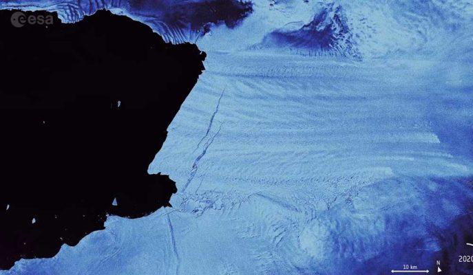 Avrupa Uzay Ajansı, Antartika'dan Kopan Buz Dağını Uydudan Görüntüledi