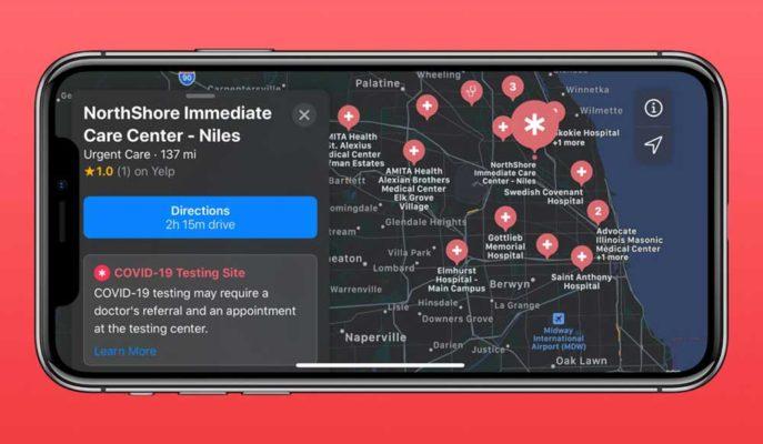 Apple, Harita Uygulaması ile COVID-19 Test Merkezlerini Gösteriyor