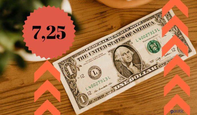 Dolar Kuru 7,25 ile Tüm Zamanların Zirvesine Ulaştı