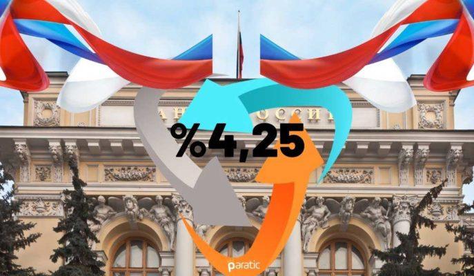 Rusya Merkez Bankası Eylül Toplantısında Faiz Oranını %4,25'te Bıraktı