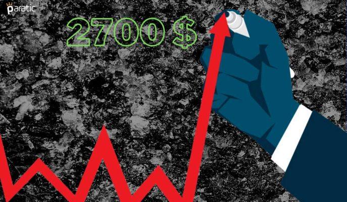 2708 Doları Test Eden Paladyum, 3 Haftanın Yükseğini Gördü