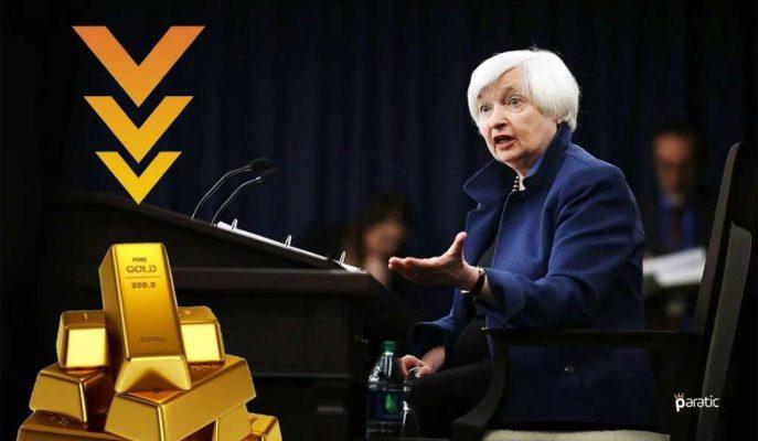 Altın Fiyatları Yellen'in Faiz Artışı Mesajıyla Geriledi