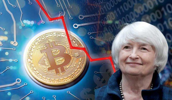 Bitcoin ABD Hazine Bakanı Yellen'in Faiz Açıklaması Sonrası 53.500 Dolara Kadar Geriledi